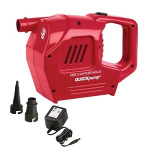 Coleman QuickPump 120V Rechargeable Electric Pump, Red, Excellent Used Condition