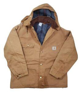 1980s-Vintage-USA-CARHARTT-Chore-Coat-Jacket-XL-tan-brown-Flannel-Lined-w-Hood