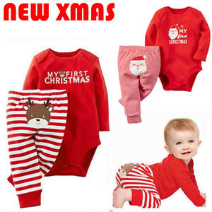 2PCS-Set-Newborn-Toddler-Baby-Boys-Xmas-Clothes-Romper-Pants-Santa-Claus-Outfits
