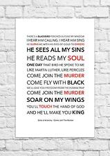 Sons Of Anarchy - Come Join The Murder - Song Lyric Art Poster - A4 Size