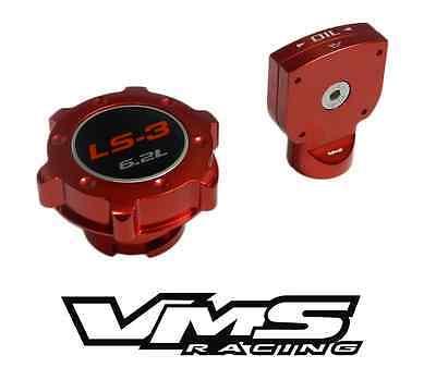 VMS BILLET ALUMINUM RED ANODIZED OIL CAP /& DIPSTICK LS3 LS-3 6.2L EMBLEM