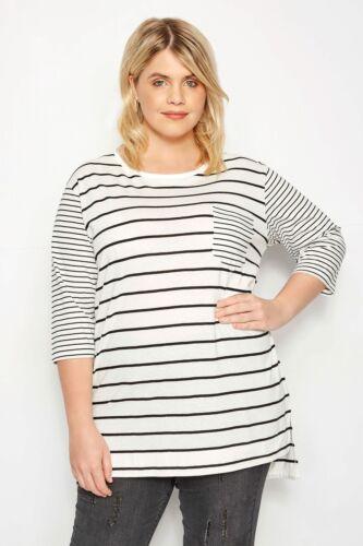 Yours Clothing Women/'s Plus Size White Contrast Stripe Pocket T-shirt