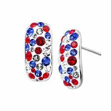 Crystaluxe Patriotic Confetti Earrings with Swarovski Crystals, Sterling Silver