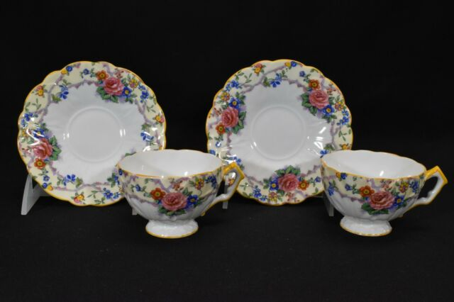 Aynsley B1183 Pair of Cups & Saucers Multicolor Floral Yellow Trim Crocus Shape