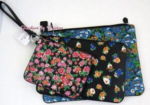 044d77e7b New w Tag COACH F 57598 POUCH TRIO FLORAL PRINTED COATED CANVAS 3 PC ...