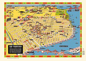 San Francisco Illustrated Map 1940s Poster Vintage Market St Golden