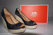 Coach Milan Signature Black Open Peep Toe Espadrille Wedge Heels A1628 Size 7.5