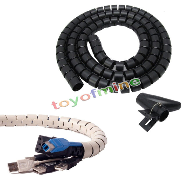2.5m Flexible Spiral Cable Cord Power Wire Management Organizer Wrap ...