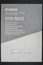 YAMAHA DVD-S510 Original DVD/CD-Player Bedienungsanleitung/Owner`s Manual Top