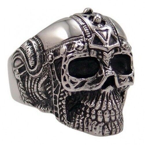 MENDEL Large Mens Heavy Stainless Steel Biker Tiger Skull Ring Men Size 8-15