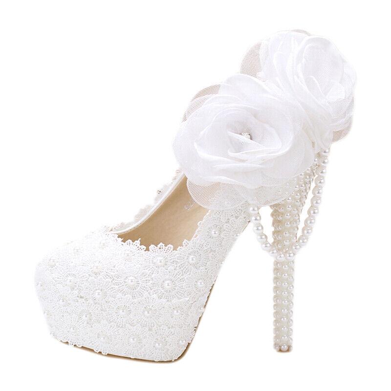 Lady dentelle blanche Floral Mariée Mariage Chaussures Plateforme Strass à enfiler aiguille
