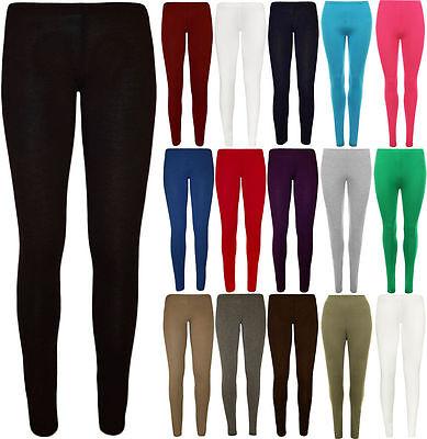 Kids Girl Women Ladies Plain Stretchy Viscose Full Length Legging Plus Size 8-26