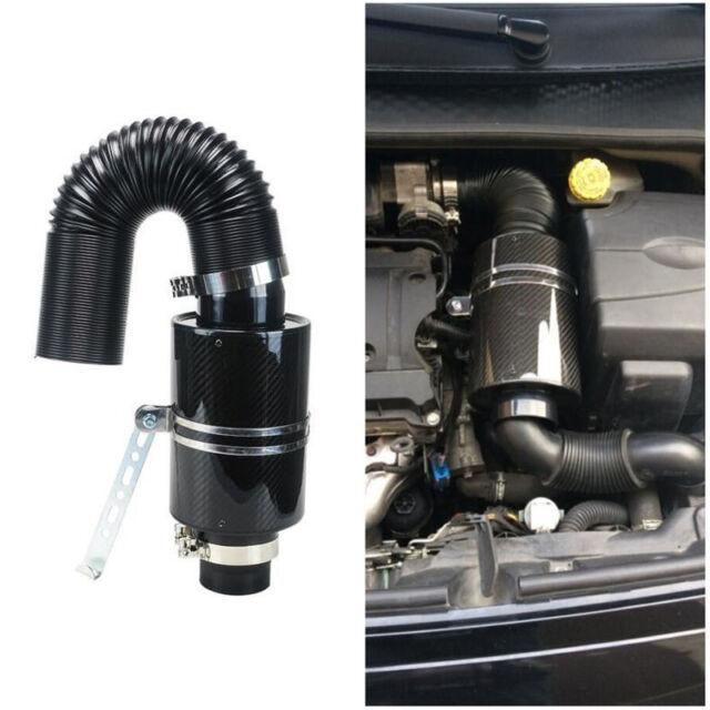 "3"" Filter Carbon Fiber Induction Ram Cold Air Intake System W/ Intake Hose Solid"