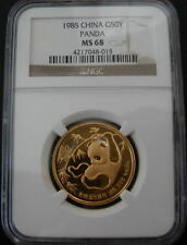 China 1985 Gold 1/2 oz Panda 50 Yuan NGC MS-68