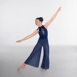 991022096d446 IN STOCK Blue Sequin Lace Insert Culottes Lyrical Jumpsuit Dance ...