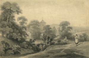 George-Holmes-Pastoral-Scene-with-Church-amp-Figures-Ireland-c-1797-watercolour