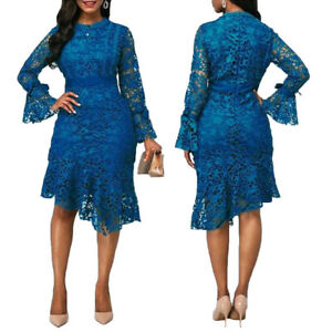 Women-Bell-Sleeve-Casual-Elegant-Ruffle-Lace-Cocktail-Club-Evening-Midi-Dresses