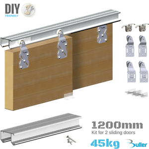 Wardrobe Double Top Hung Sliding Door Gear 45kg 1200mm Track Set For