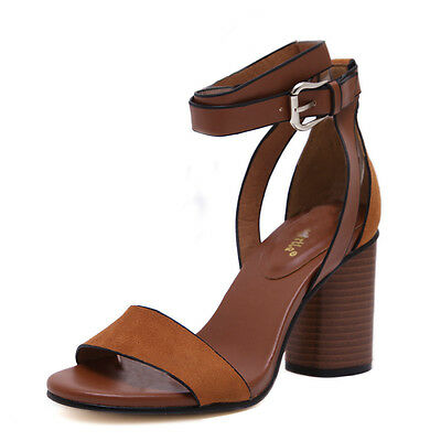 Summer Women Ladies Strappy Open Toe  Chunky High Heels Sandals Leather Shoes