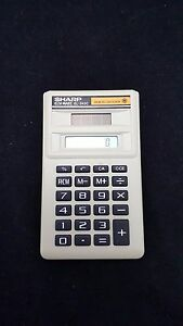 Beautiful Vintage Sharp Calculator El-869c Solar Cell Elsi Mate W/ Slip Case Calculators Office