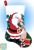 Felt Embroidery Kit Design Works Santa And Puppy Christmas Stocking Dw5039