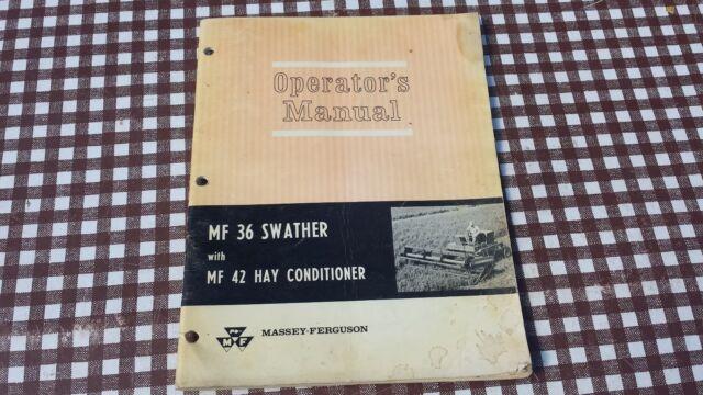 massey ferguson 36 swather mf42 hay conditioner operators manual rh ebay com