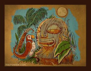 Maori Waka Tiki Bar Art Lowbrow Pop Polynesian Volcano Man Cave Print