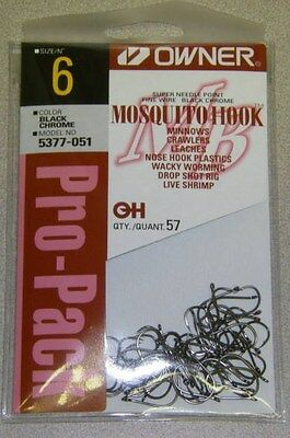 OWNER MOSQUITO BASS FISHING HOOK FINE WIRE #5377-051 SZ 6 QTY 57