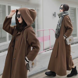 Parka breasted Womens Blend Long Hooded Loose D586 Coat ull Dobbelt Cape Fashion SxzqTxnH