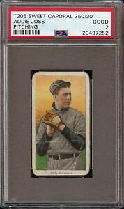 Rare-1909-11-T206-HOF-Addie-Joss-Pitching-Sweet-Caporal-350-Cleveland-PSA-2-GD