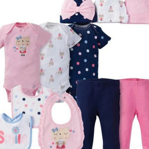 Gerber Baby Girls 11 Piece Layette Set Size 3-9 Months Adorable Little Bear