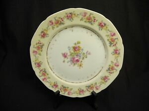 SET-OF-3-SHABBY-CHIC-GOLD-CASTLE-CHINA-PATTERN-LUNCHEON-PLATE-MADE-IN-JAPAN-ROSE