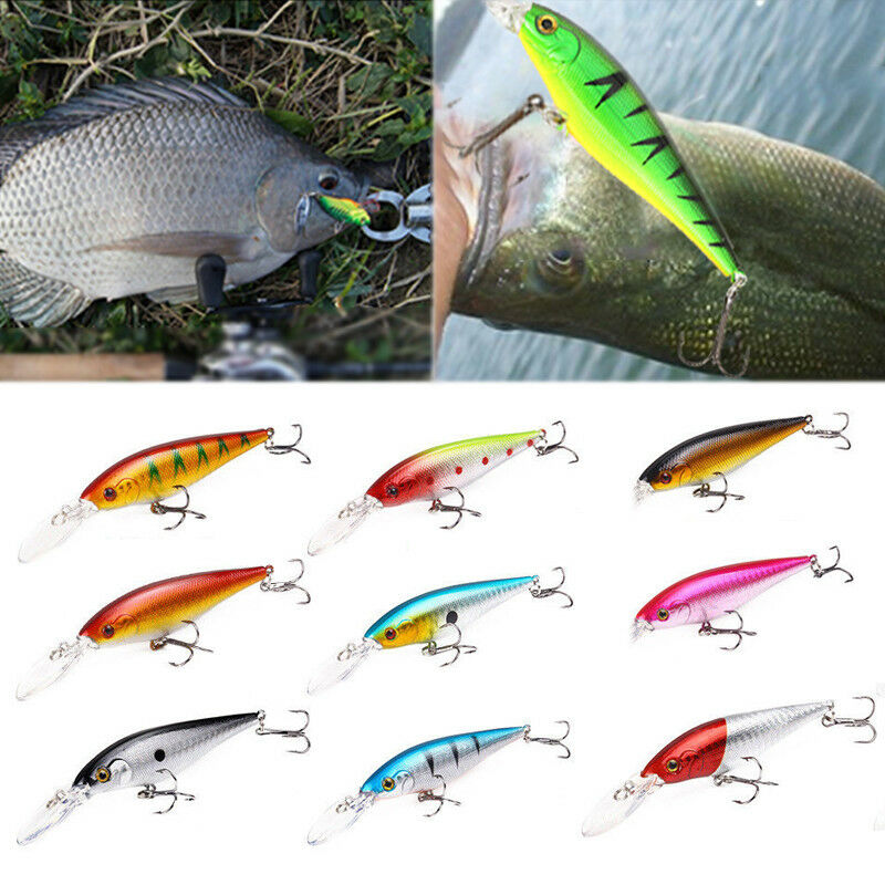 Fishing Pencil Bait Fishing Lure Hard Bait Crankbait 3D Fish Hook 1//0#