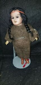 Antique-Armand-Marseille-American-Indian-Native-doll-bisque-Compo-Allemagne-8-0