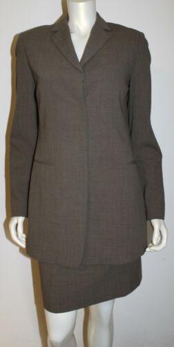 Donna Karan Brown Wool Weave Skirt Suit US 12 Long