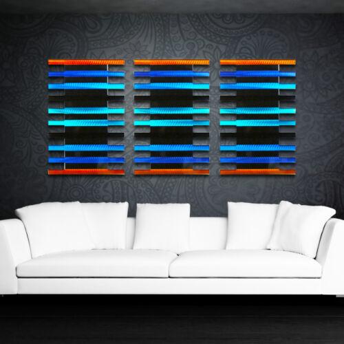 Abstract Modern Metal Wall Sculpture Art Panels Painting Blue Orange Home Decor