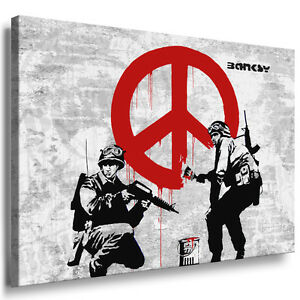 banksy werke auf leinwand bild keilrahmenbild wandbild kunstdruck graffiti peace ebay. Black Bedroom Furniture Sets. Home Design Ideas