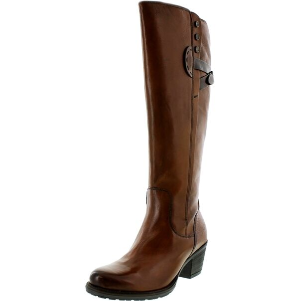 NEW CLARKS MAYMIE STELLAR COGNAC LEATHER KNEE HIGH 3.5E BOOTS - UK size 3.5E HIGH 19ecfd