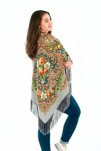 Large-Slavonic-Russian-folk-vintage-style-scarf-shawl-new-Winter-2017