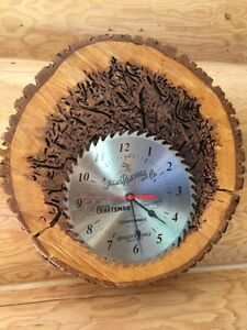 Rustic Log Wall Clock Bug Holes Tree Slice Lacquer Varnish