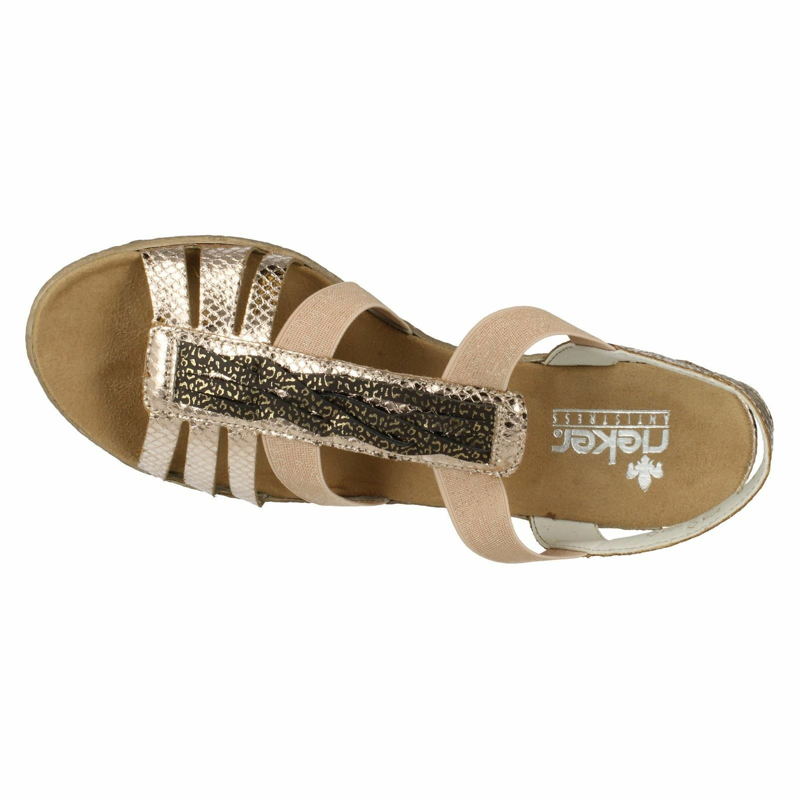 LADIES RIEKER 62479-90 GOLD  GOLD 62479-90 WEDGE SANDAL 70e733