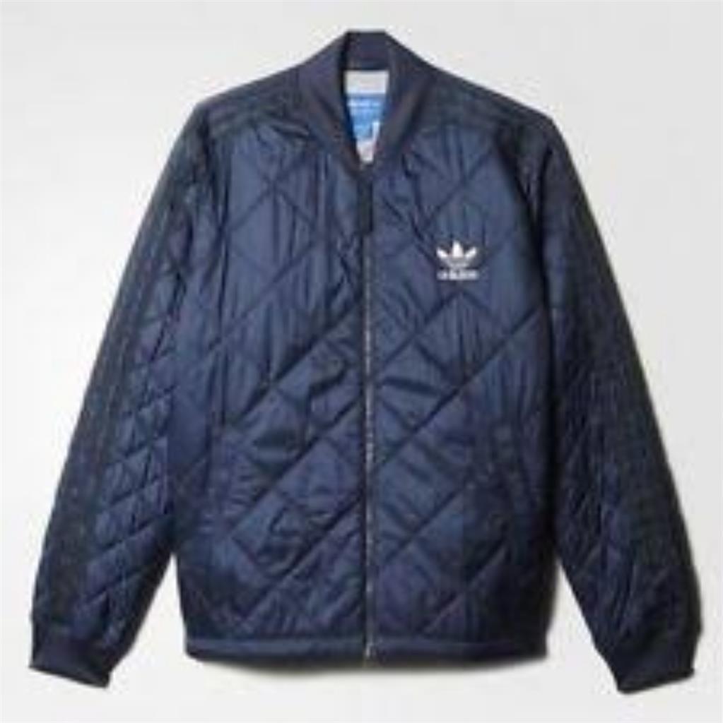 Adidas da men Trapuntato Superstar Bomber Giacca Cappotto blue Navy Nuovo ay9143