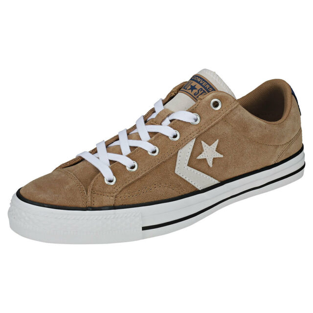 68e63df15deed3 Converse Star Player Ox Mens Tan Navy Suede Trainers - 10 UK