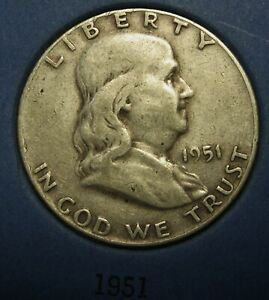 1951-Ben-Franklin-Silver-Half-Dollar-Average-Circulated-Condition-Great-Price