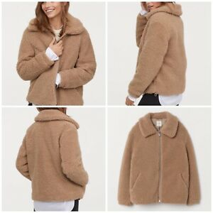 good selling united kingdom clearance sale H&M (NEW) Short Beige Pile Teddy Bear Borg Faux Fur Jacket Size ...