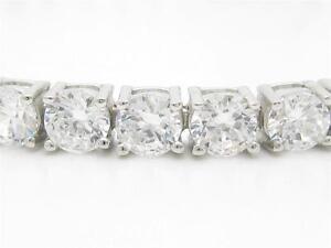 Platinum-Sterling-Silver-Diamond-Set-White-Sapphire-Round-Cut-8-034-Tennis-Bracelet