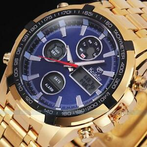 Herren-uhr-Digital-Analog-Uhren-mit-DATUM-Armbanduhr-Gold-Edelstahl-Uhren
