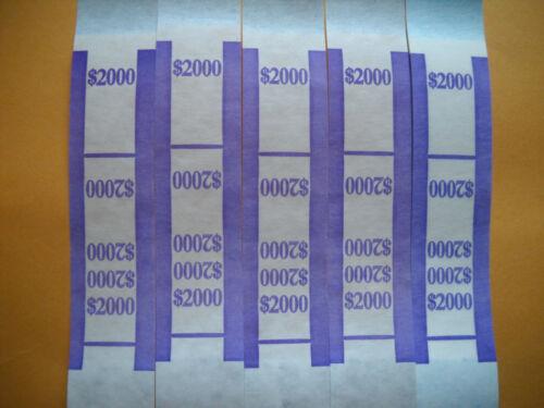 100 USA currency straps $20 bills Self Sealing money bands 2000 violet