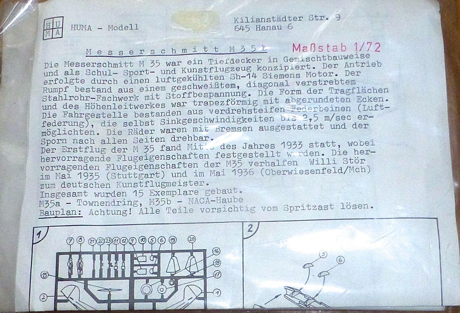 Messerschmitt M 35 351 Huma Modelo 1 72 Avión Kit Construcción sin Construir Å
