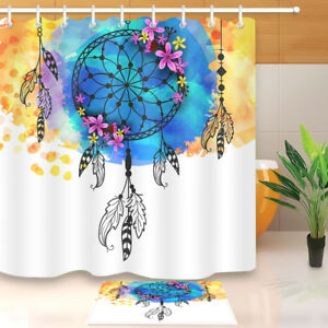 Image Is Loading Boho Style Dreamcatcher Fabric Shower Curtain Set Bathroom